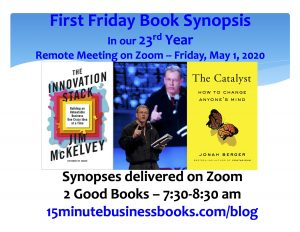 Coming for our May 1 First Friday Book Synopsis on Zoom